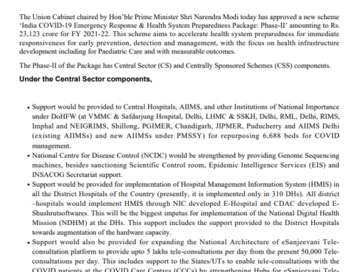 """Cabinet approves India COVID 19 Emergency Response and Health Systems Preparedness Package Phase II"""" at a cost of Rs 23,123 crore"""